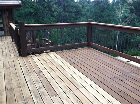Cabot Semi Solid Deck Stain Two Coats by Cabot Deck Stain In Semi Solid Bark Mulch Half Stained
