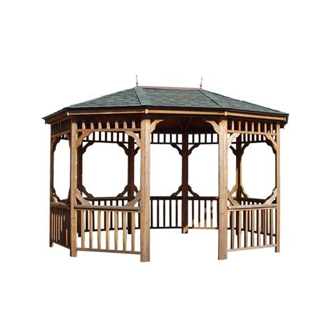 heartland bayview wood oval gazebo exterior  ft