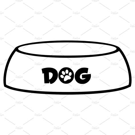 Black And White Dog Bowl ~ Illustrations ~ Creative Market