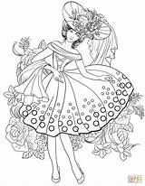 Coloring Pages Woman Adults American Printable 1950s Adult Books Elegant 40s Clothing Colouring Jewelry Animal Supercoloring Creative Super Fairy Victorian sketch template