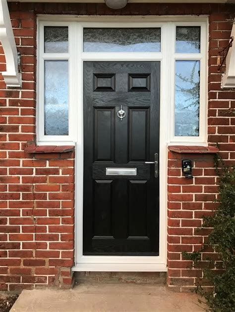 panel  arch crystal bohemia composite front door  black
