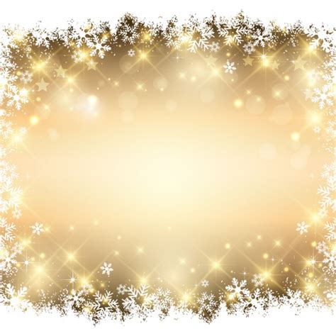 Sneeuwvlokken gouden achtergrond Vector   Gratis Download