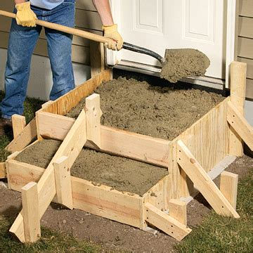 poured concrete steps sand set mortared patios