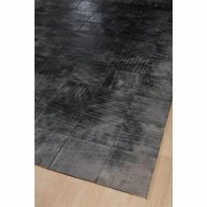 tapis cuir walker gris 170x230 home spirit With tapis peau de vache avec canape cuir linea sofa