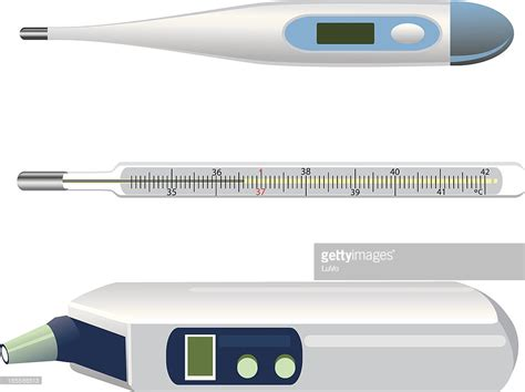 3 Different Types Of Thermometers On A White Background