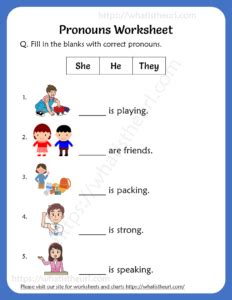 pronouns worksheets   grade  home teacher