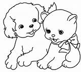 Coloring Simple Pages Puppy Cat Kitten Colouring Mermaid Drawings sketch template
