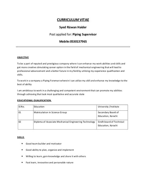 Piping Construction Supervisor Resume by Rizwan Piping Supervisor
