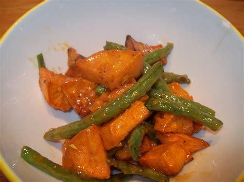 roasted sweet potato  green bean salad red
