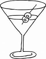 Glass Martini Line Clip Clipart Coloring Sweetclipart sketch template