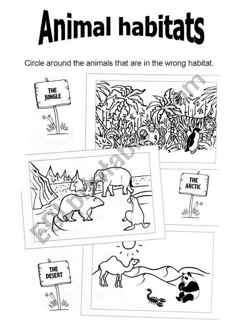 english worksheets animal habitats