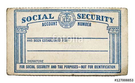 social security template quot worn blank social security card copy space white background horizontal quot stock photo