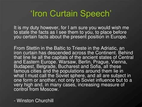 Iron Curtain Speech Definition by Ppt Unit 4 A World Divided And United Powerpoint