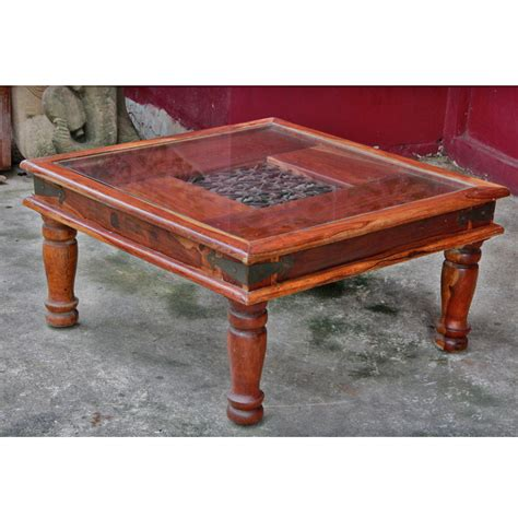 Indonesian Teak And Iron Glasstop Coffee Table
