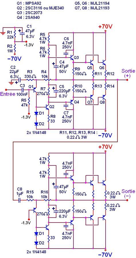 schema electrique cuisine ampli simple 500w à 1000w schéma