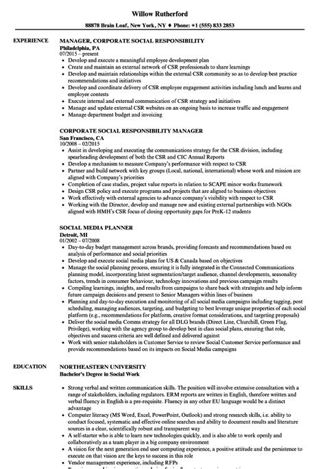 Corporate Resume Builder by Corporate Social Responsibility Resume Vvengelbert Nl