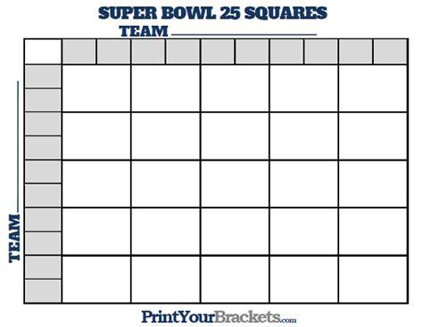 super bowl board printable bowl squares 25 grid office pool
