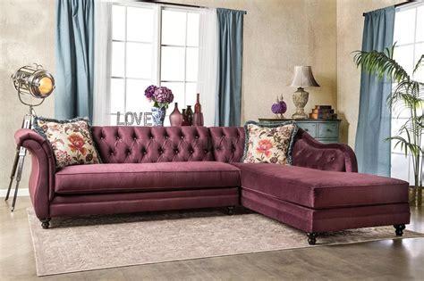 rotterdam sm sectional sofa  plum velvet fabric