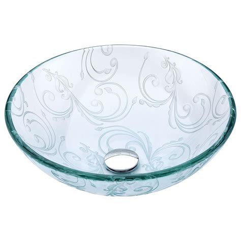 clear glass ls anzzi vieno series vessel sink with pop up drain in
