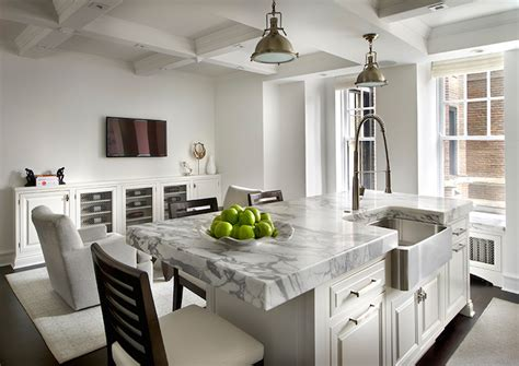 How Thick Is Quartz Countertop by Thick Marble Countertops Transitional Kitchen