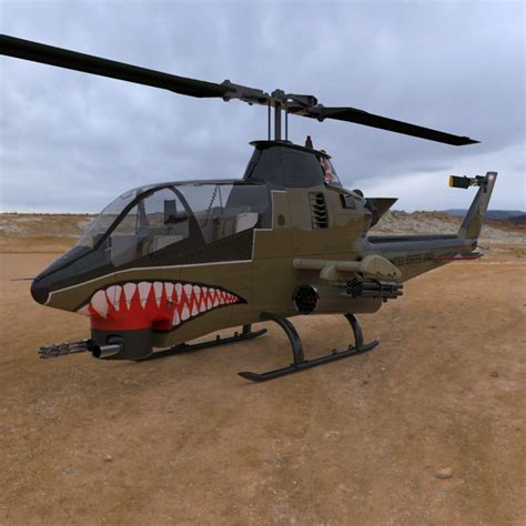 Ah-1 Cobra Helicopter 3d Model Rigged Max Obj
