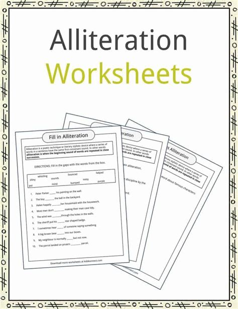Alliteration Examples, Definition & Worksheets Kidskonnect