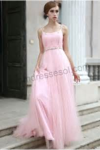 robe temoin mariage a line pink square colar spaghetti straps floor length organza evening prom dress 80591
