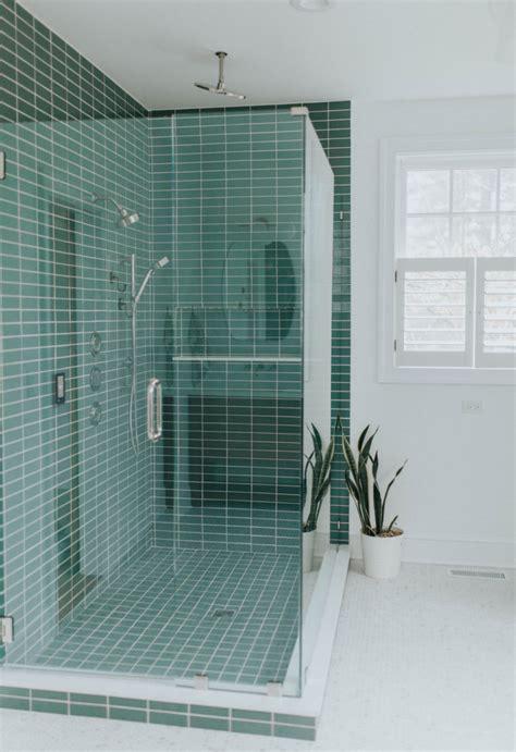 green shower tile  hexagon floor tile bathroom