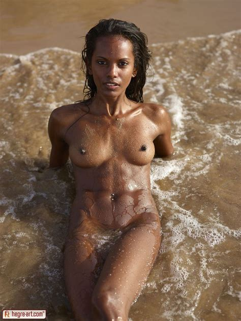 Nude Skinny Black Female At The Beach From