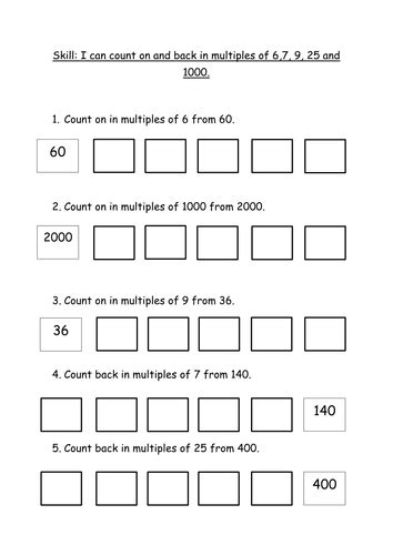 counting on in multiples of 6 7 9 25 and 1000 by