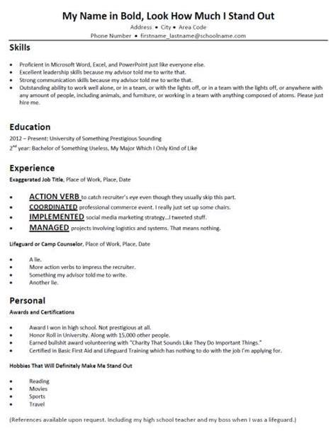 terribly typical mock resumes bad resume