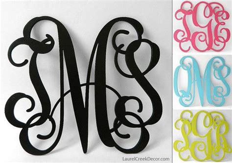 wood monogram initials  wall decor  wreath letters painted vine script monograms
