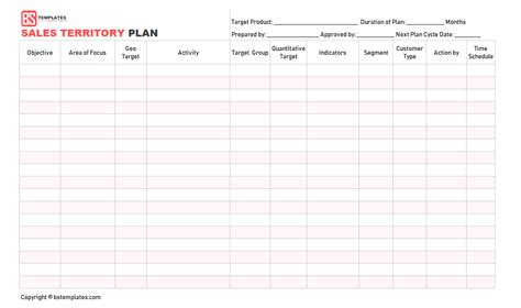 sales territory plan template sales plan template sales strategy plan word excel format