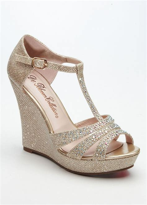 black wedges size 10 david 39 s bridal wedding bridesmaid shoes glitter t