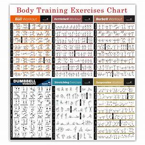 Bodybuilding Gym Sport Fitness Dumbbell Poster Kettlebell Workout Exercise Training Chart Art