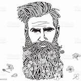 Coloring Adult Hipster Bearded Adults Beard Colouring Books Human Face Market Males sketch template