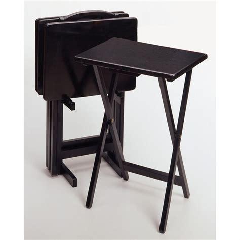 winsome black 5 pc folding tv tray set 150997
