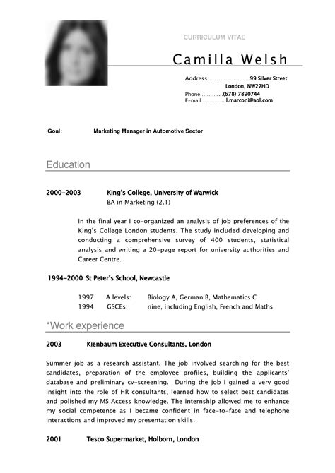 Curriculum Vitae Resume Template by Cv Sle Curriculum Vitae Camilla Resume Sle