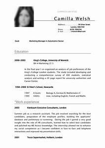 Cv Sample Curriculum Vitae Camilla