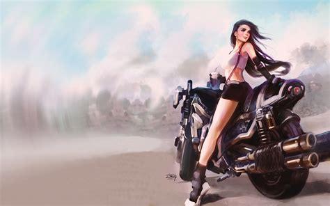 wallpaper fantasy girl motorcycle art drawing