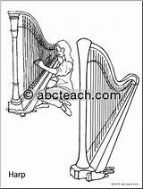 Harp Coloring Abcteach Music sketch template