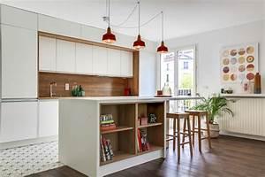 cuisine contemporaine epuree blanc bois avec carreaux de With carreaux de ciment paris 11