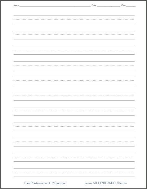 Blank Lined Paper  Handwriting Practice Worksheet  Student Handouts