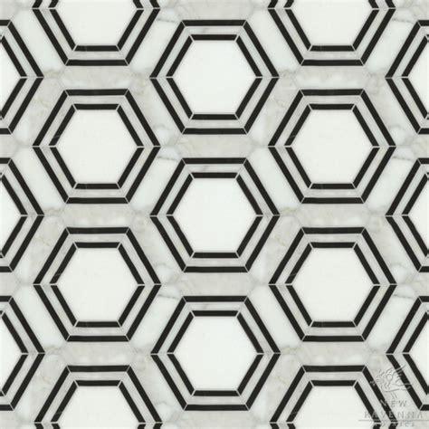 hexagon tiles mosaic black white home ideas
