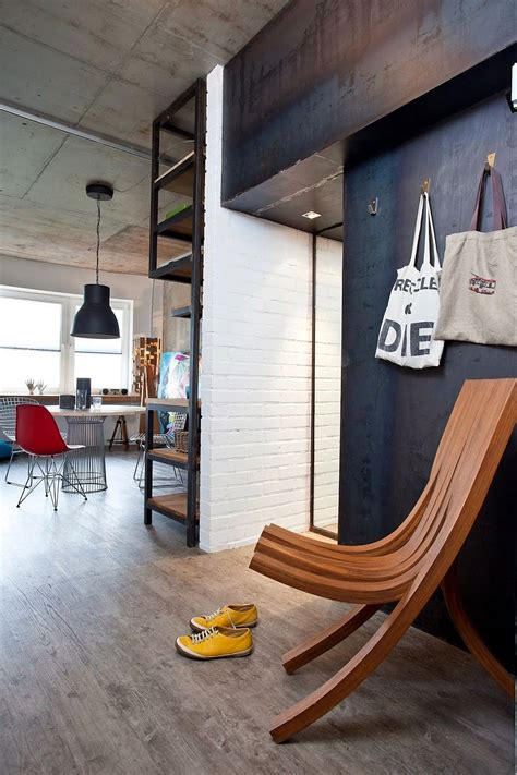 Small Modern Industrial Apartment by Small Modern Industrial Apartment Draped In Metal Wood