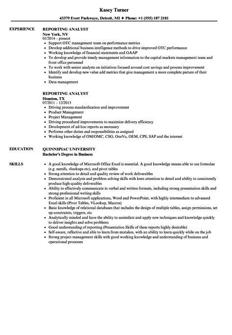 Sql Analyst Resume by Reporting Analyst Resume Sles Velvet