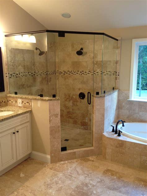 frameless corner glass shower dual shower heads garden