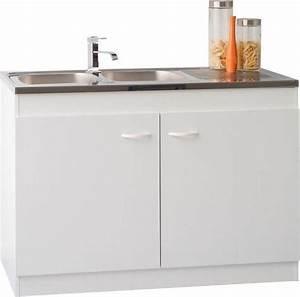 Meuble Sous Evier 120 Cm : meuble sous vier 2 portes blanc satura 120 cm ~ Melissatoandfro.com Idées de Décoration