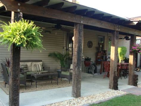 Back Porch Landscaping Ideas by Rustic Charm Back Porch Using Recycled Railroad Ties