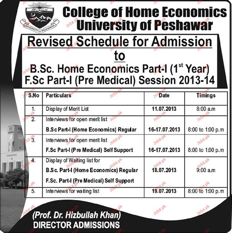 Admission in Bsc and Fsc Part I in College of Home ...